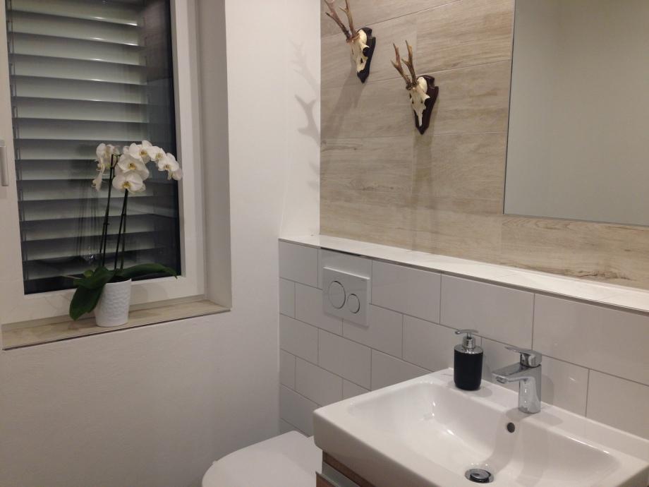 Modernes Kleines Badezimmer Mit Hirschgeweihen An Der Wand